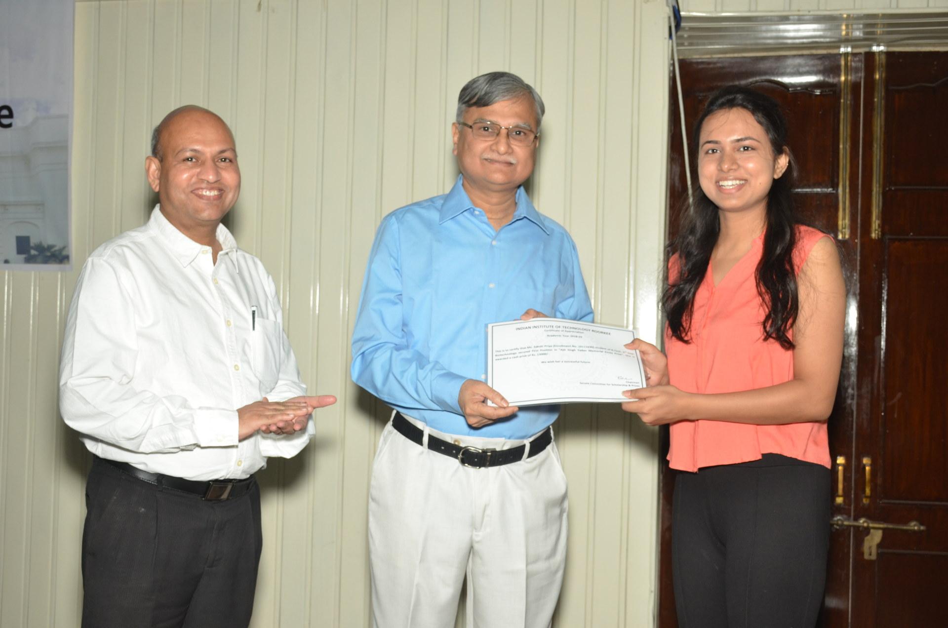 Ajit Singh Yadav Memorial Proficiency Award Recipient Ms. Sakshi Priya